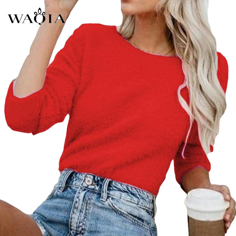 Plus Size Women Sweater Pullovers  2019 Autumn Winter O-Neck Long Sleeve Knitted Sweater Sexy Plush  Loose Casual Sweaters Tops