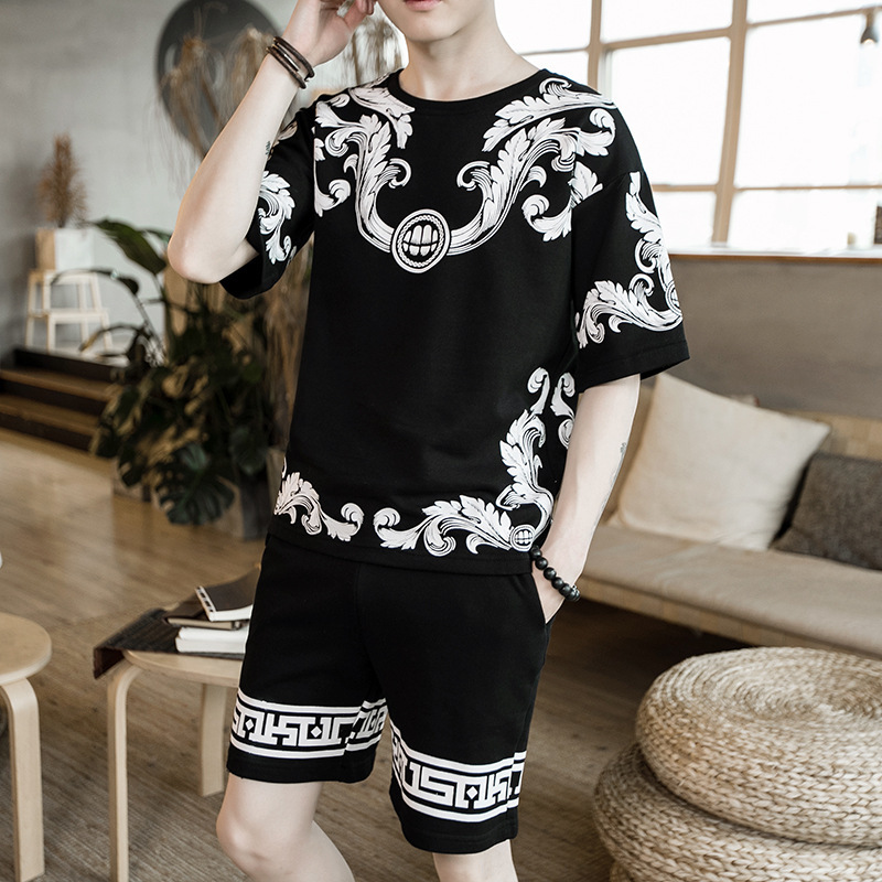 Chinese-style Summer New Style MEN'S Short Sleeve Shirt T-shirt Printing Knitting Suit Korean-style Casual Linen Shorts Set