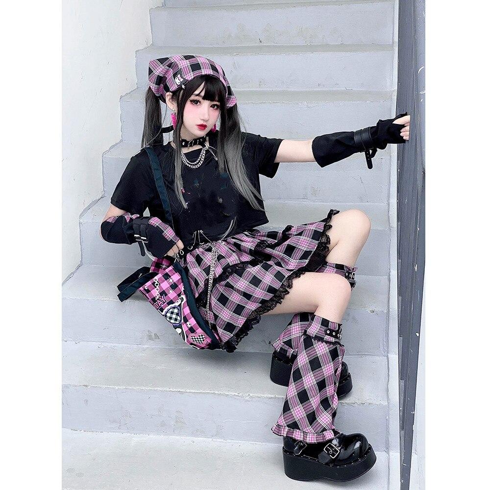 Новое поступление, яркое платье Ruibbit для девушек, розовая милая мягкая юбка в японском стиле панк, кружевная клетчатая мини-юбка