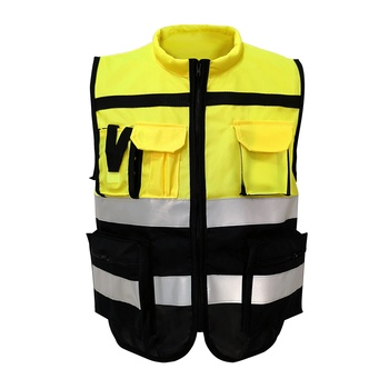 Reflective Vest High Visibility Warning Safety Vest Fluorescent Clothing Multi pockets Outdoor Security Traffic Work Clothes sports safety warning vest fluorescent riding clothes motorcycle reflective vests