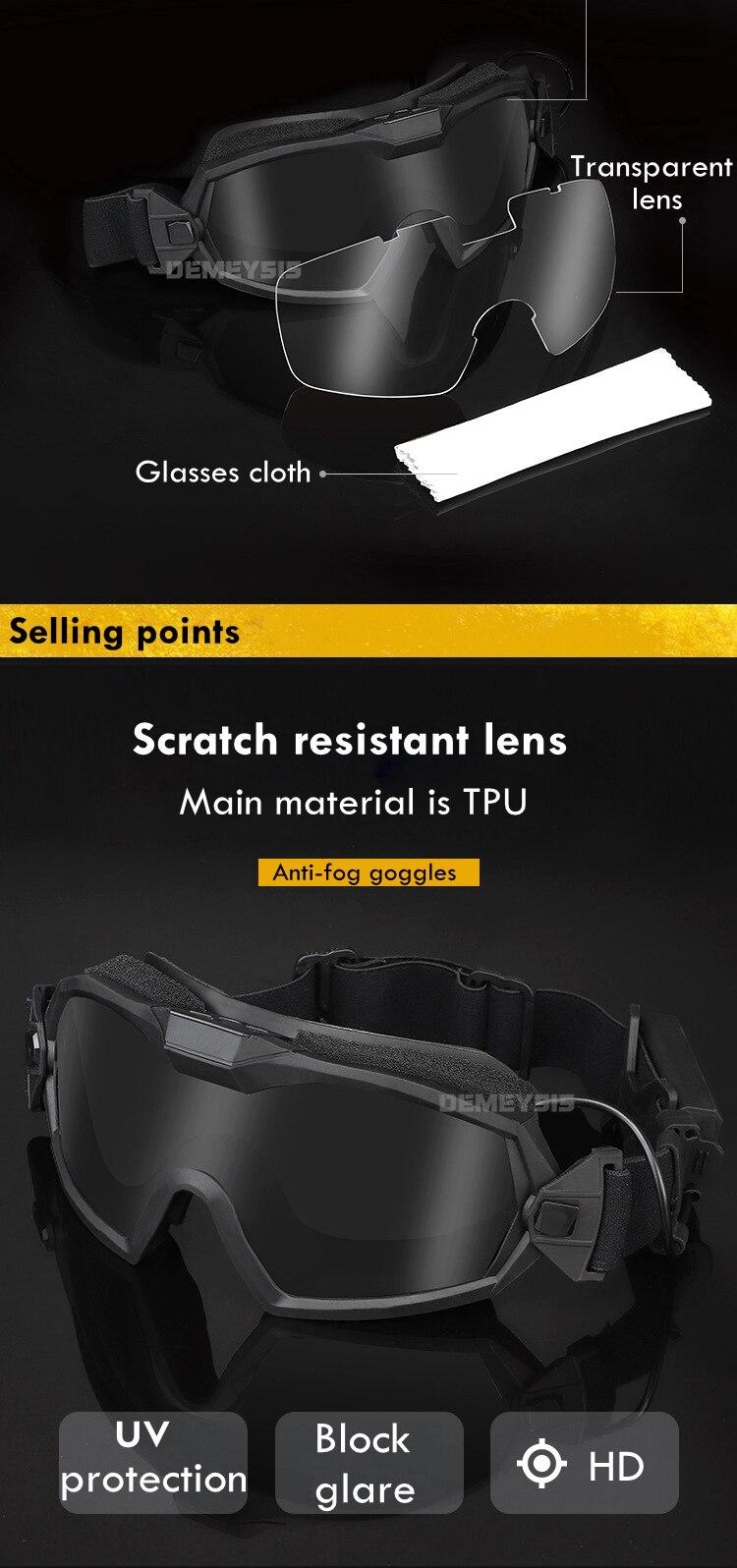 Airsoft militar óculos de combate tático anti-nevoeiro