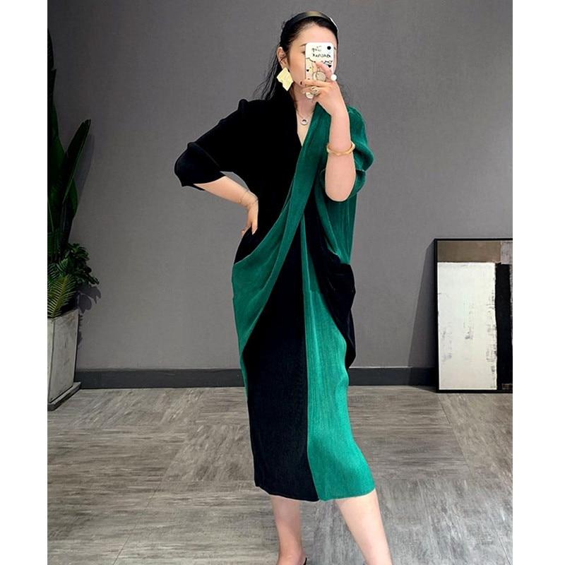 LANMREM 2020 casual a line v neck mid calf three quarter sleeve Patchwork elegant cross stitching slimming pleated dress 2A221|Dresses| - AliExpress