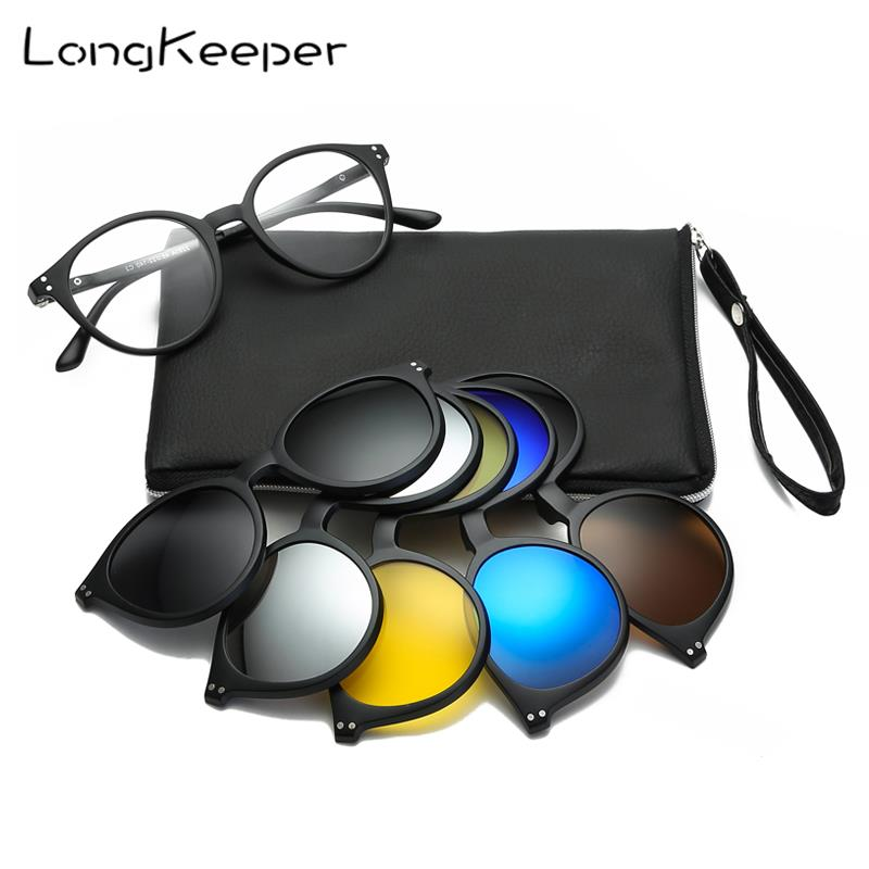 LongKeeper 5+<font><b>1</b></font> suit Fashion Clip On Goggles Women Frames Clips Polarized <font><b>Sunglasses</b></font> eyeglasses men Clip glasses <font><b>6</b></font> <font><b>in</b></font> <font><b>1</b></font> with bag image
