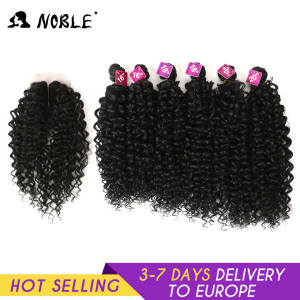 Noble Afro Kinky Hair-Bundles Closure Weave Synthetic-Hair Curly African-Lace Women