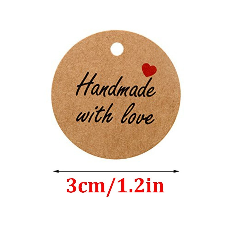100Pcs Kraft Paper Gift Tags thank you for Celebrating with Us labels handmade for wedding party decoration Packaging Hang paper 2