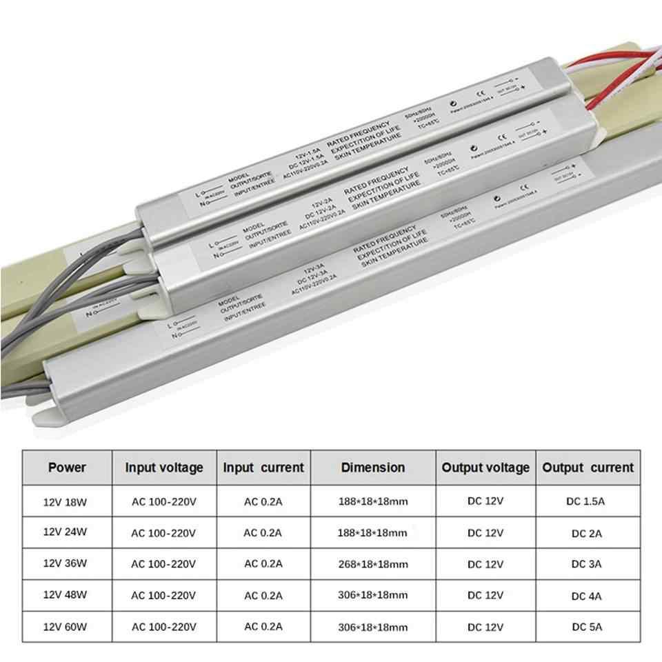 12V transformator LED wyłącznik zasilania AC 110 V-220 V 1.5A 3A 5A sterownik Led Ultra cienki zasilacz do diody na wstążce LED