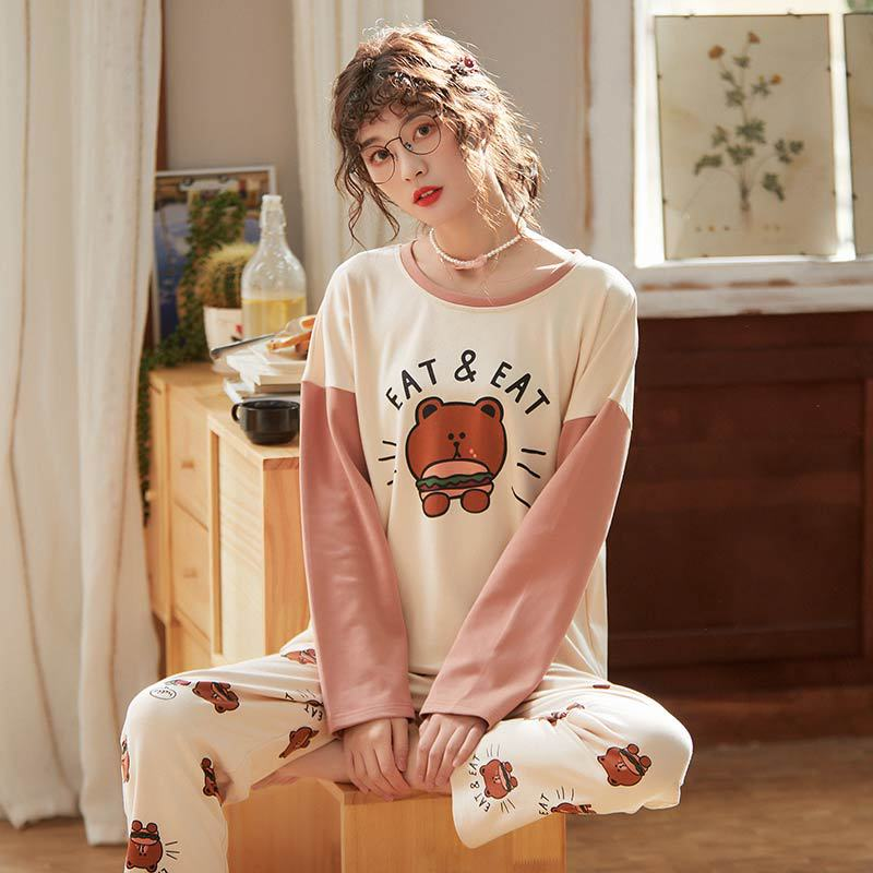 X3947 # Hamburg Brown Bear Pullover LZ Long Sleeve Korean-style Sweet Pajamas Tracksuit Piece Series