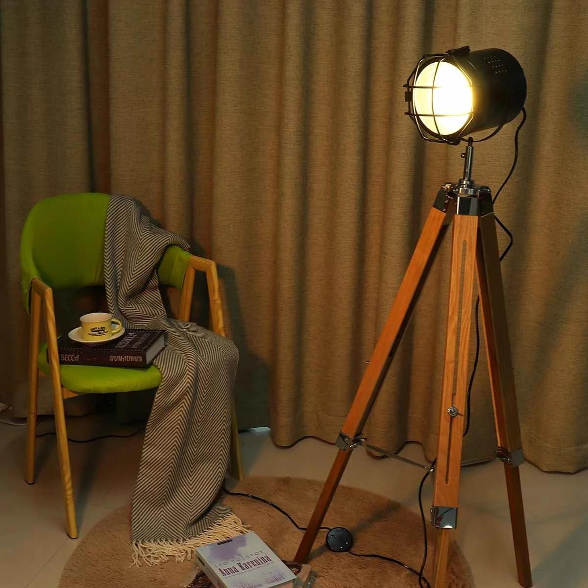 E27 Wooden Floor Lamp Tripod Vintage Bedroom Reading Spotlight Fixture Decor Table Lamp Indoor Lighting 220v Height Adjustable Floor Lamps Aliexpress