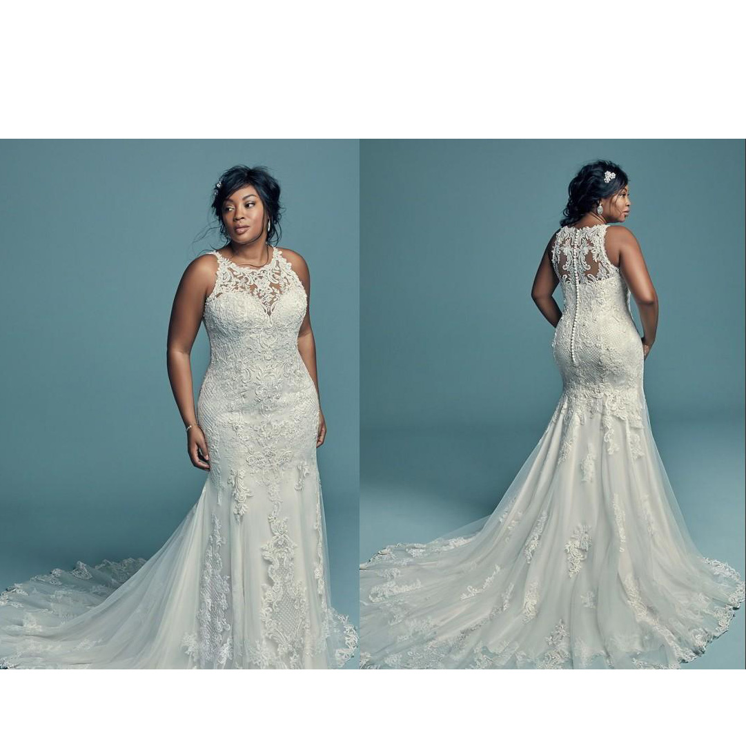 Elegant Lace Applique Wedding Dresses Mermaid Sleeveless Sweep Button Bridal Gowns African  Bride Dress