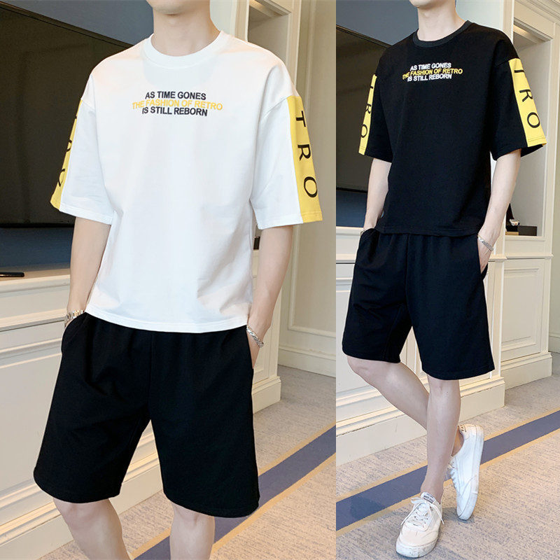 2019 Summer New Products Fashion Man Loose-Fit Fashion Network Red Celebrity Style Printing Short-sleeved T-shirt Short Shorts L