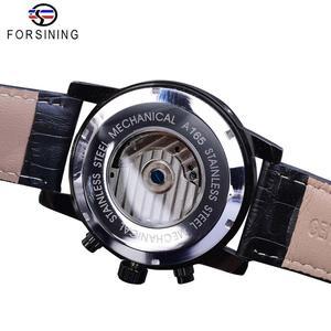 Image 4 - Forsining Tourbillion Fashion Wave Black Golden Clock Multi Function Display Mens Automatic Mechanical Watches Top Brand Luxury