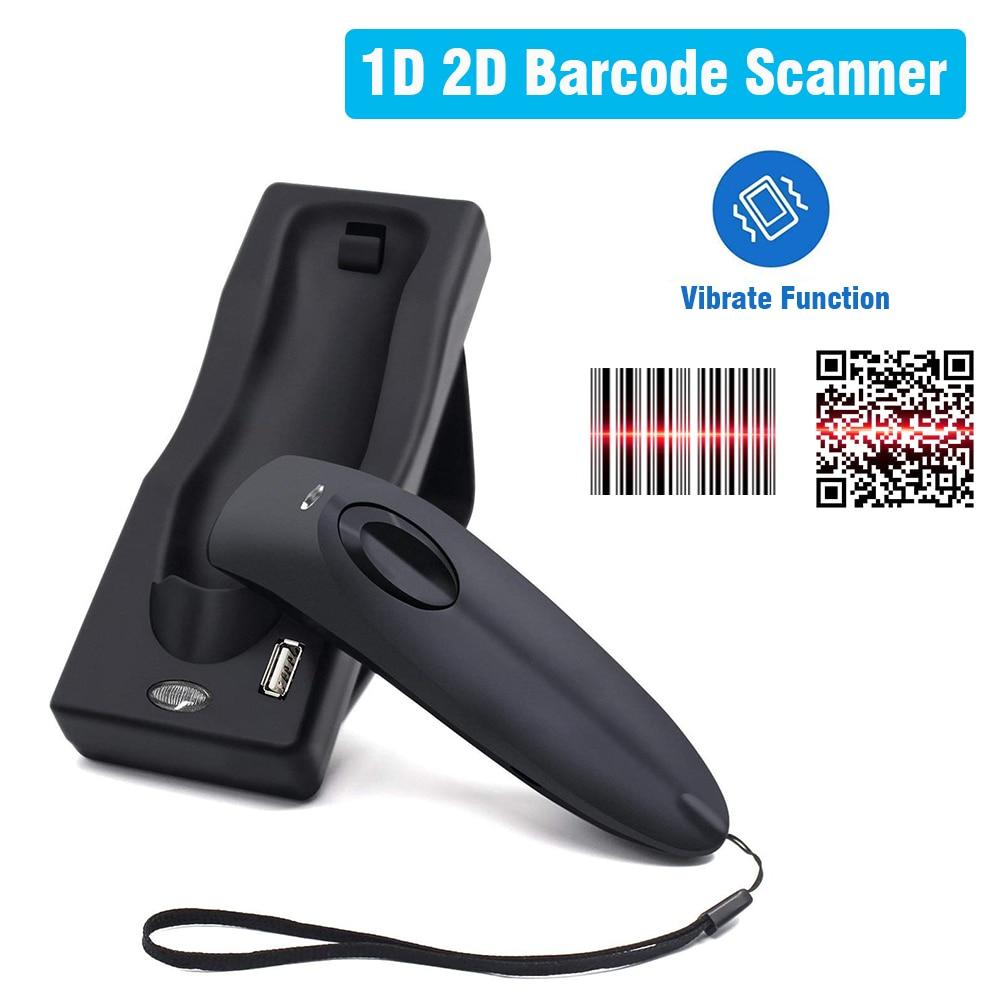 Barcode Scanner Dual 2.4G Handheld Wireless Bluetooth 1D 2D Barcode Scanner QR PDF417 Data Matrix UPC Bar Code Scanner with Base