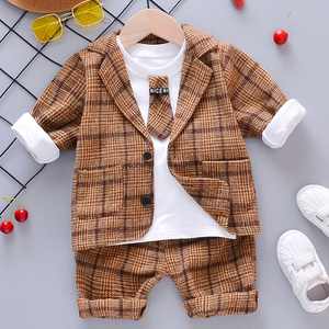 Image 3 - ילד תינוק ילד משובץ חליפת סטי בגדי אופנה 3PCS פעוט בנות תינוק חליפת מעיל + T חולצה + מכנסיים 1 4 Y