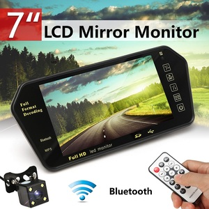 Car 7 Inch Rear View LED Display bluetooth With LED Low Light Night Vision Rearview Mirror Monitor Night Vision Reversing Camera(China)