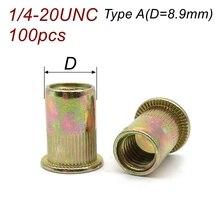 Amercian Rivet-Nut Thread Flat-Head Carbon-Steel 1/4-20unc Zinc-Plated Yellow Standard-Inch