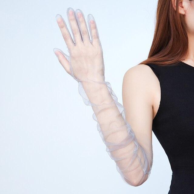 Summer Women Ultra-thin Sunscreen Driving Glove Hallowe 70cm Sexy Lace Gloves mesh yarn Long Full Finger Touch Screen Gloves K10 4