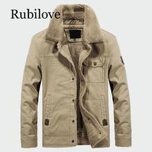 Rubilove Mens Thick Fleece Coats Winter Warm Jackets Padded Casual Hooded Thermo Parka New Men Overcoat Brand Clothing
