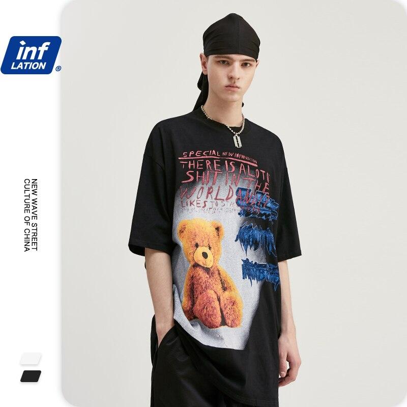 INFLATION Men Graffiti Print Funny Tshirt Cotton O-neck Hip Hop Tees Short Sleeve Men T Shirt Boys Streetwear Tshirt 1094S20
