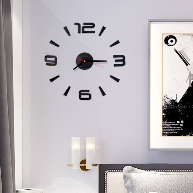 New Frameless DIY Wall Clock 3D Acrylic <font><b>Sticker</b></font> Arabic Numbers Adhesive Modern Art Wall Decor Kit For Living Room Bedroom <font><b>s</b></font> image