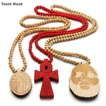 Wood pendant necklace / laser engraving cross Hip-hop jewelry wholesale dropshipping
