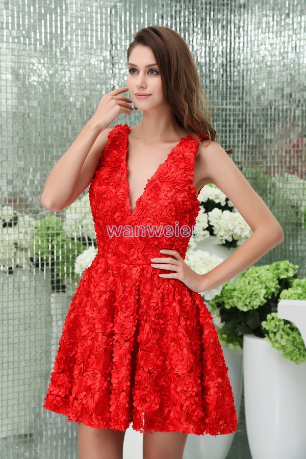 Free Shipping 2018 New Design Short Red Flowers Sexy Plus Size A-line Women's Formal V-neck Party Prom Gown Bridesmaid Dresses