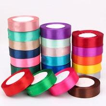 Rubans en Satin de soie 1 pouce = 2.5cm 25mm, pour emballage de fleurs, pour mariage, noël, Halloween, fête d'anniversaire, Festival, boîte-cadeau