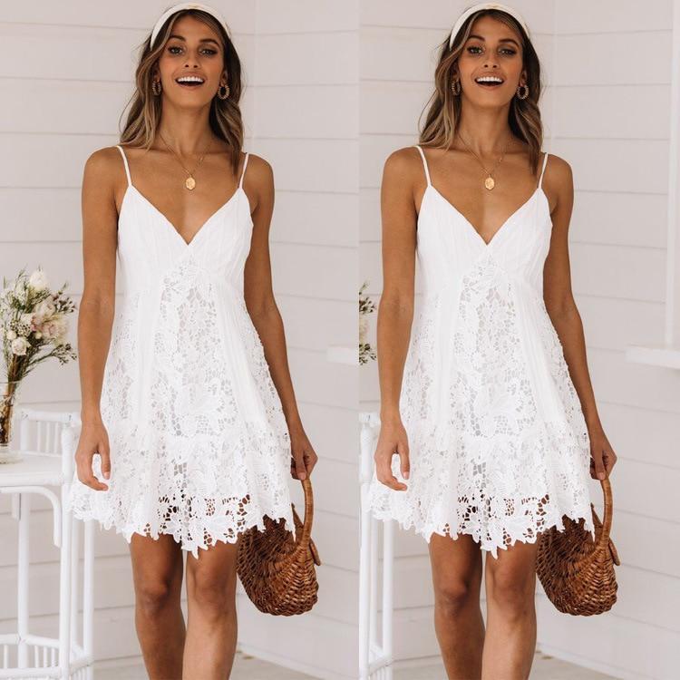 BacklakeGirls 2020 Lace Split Joint Sexy White Cocktail Dresses Occasion Dresses For Women Vestidos Coktail