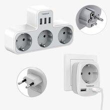 TESSAN ab tak duvar soketi ile 3 USB şarj portu ve 3 AC çıkışları 6 in 1 güç şeridi dalgalanma koruyucusu yatak odası banyo için