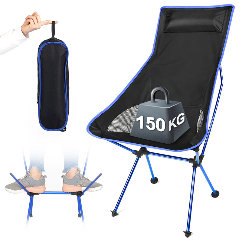 Outdoor Portable Folding Chair Camping Fishing BBQ Travel Moon Chair Ultralight Extended Hiking Picnic Home Office Chair