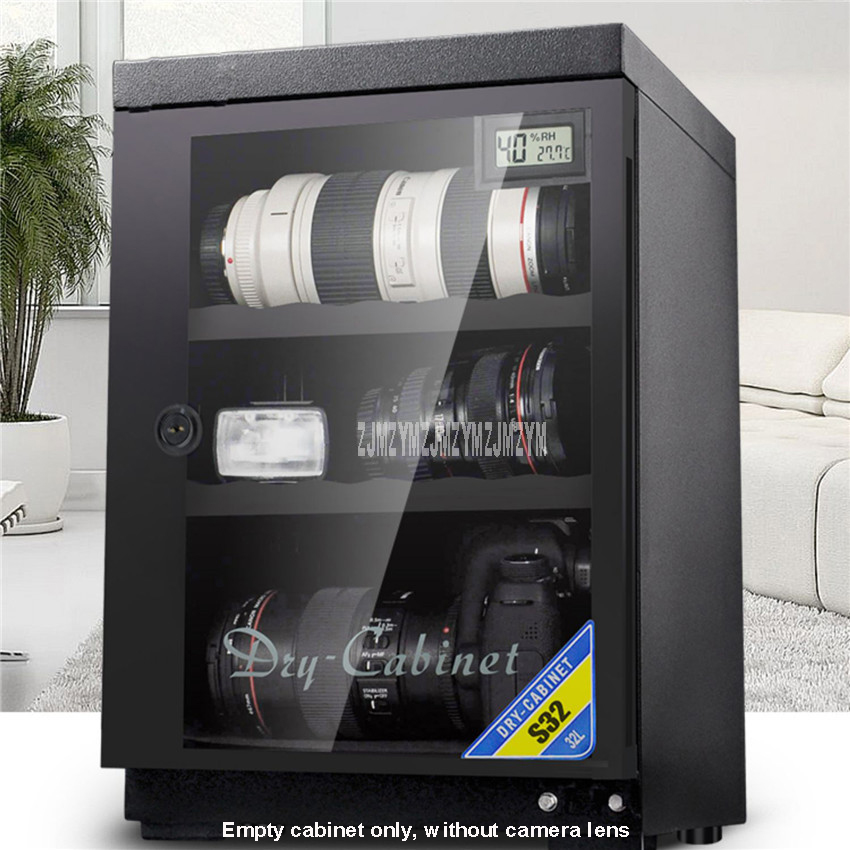 32L Full Automatic Electronic Dry Cabinet Box SLR Camera Lens Dehumidify Drying Moistureproof Cabinet Touch LED Display Screen