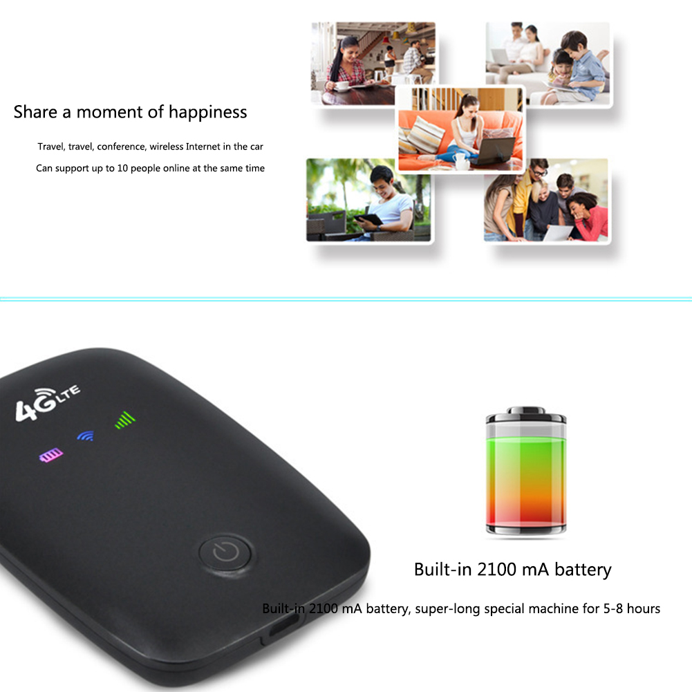 4G Wireless Dongle Battery Rechargeable <font><b>Portable</b></font> <font><b>Wifi</b></font> <font><b>Router</b></font> <font><b>Sim</b></font> <font><b>Slot</b></font> Outdoor Car Mobile Pocket Modem Travel High Speed Hotspot image