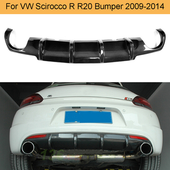Carbon Fiber Car Rear Diffuser Lip Spoiler For Volkswagen VW Scirocco R R20 Bumper 2009 - 2014 Black FRP Rear Diffuser Spoiler