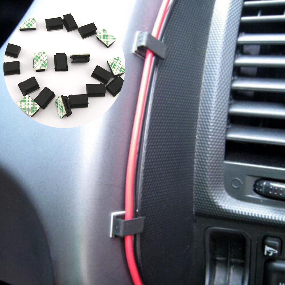 40 шт. самоклеющиеся авто шнур фиксированные зажимы Автомобильный Кабель зажимы органайзера сматыватель кабеля Drop line держатель для организации рабочего стола провода галстук фиксатор