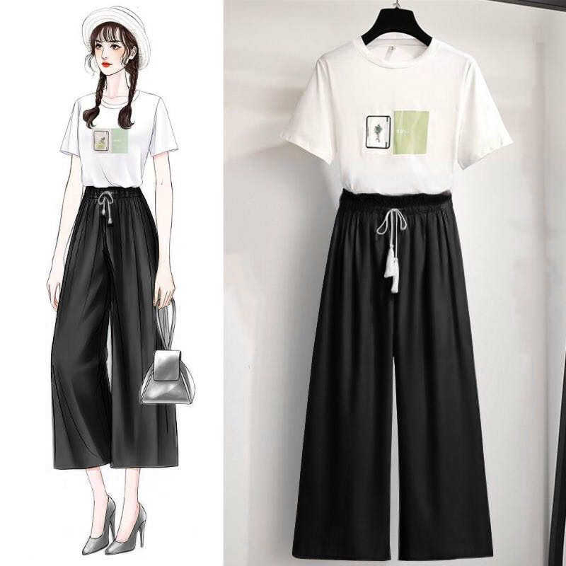 Plus Größe Zwei Stück Set Trainingsanzug Frauen Sommer Koreanische Beiläufige Sweatpant Anzug Damen Schweiß Sportswear Weiß Top Grün Hose 4xl