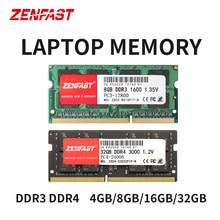 ZENFAST portátil DDR3 DDR4 8GB 4GB 16GB portátil Ram de 1333, 1600, 2400, 2666, 2133MHz 204pin Sodimm portátil de memoria