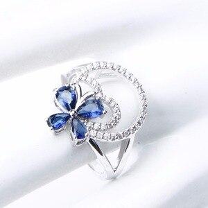 Image 4 - Wedding Silver 925 Jewellery Costume Jewelry Sets Women Blue Zirconia Bracelet Ring Pendant Necklace Earrings Set Gift Box