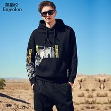 Enjeolon แบรนด์ชาย Hoodies ฤดูใบไม้ร่วงฤดูหนาว Hooded Sweatshirt พิมพ์ Hoodie ชาย Hoody PLUS ขนาด 3XL chaquetas WY144