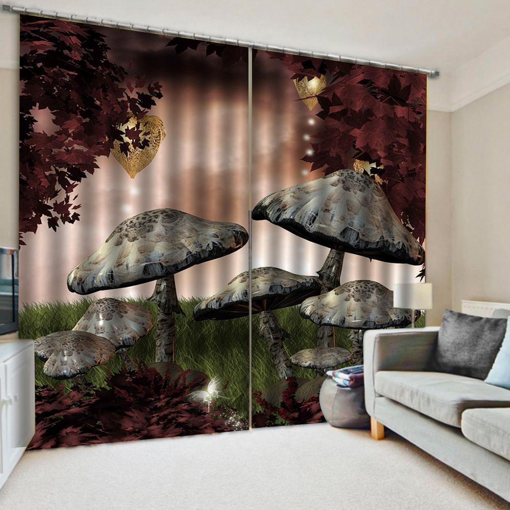 Rideaux occultants 3d | Tissu de rideau 3d personnalisé de haute qualité, pour salon chambre d'enfants dessin animé champignon anime