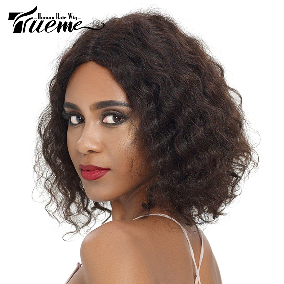 Trueme Middle Part Human Hair Lace Wigs For Black Women Natural Wave Remy Brazilian Hair Lace Front Short Hair Bob Wigs