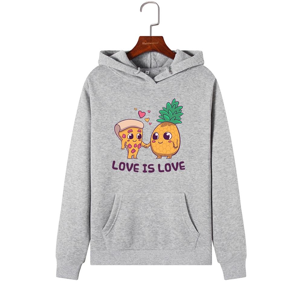 Women Hoodies Sweatshirts Hooded Sweatshirt Pineapple Pizza Print Autumn Winter Pullover Female Hoodie Tops Clothes Outwear