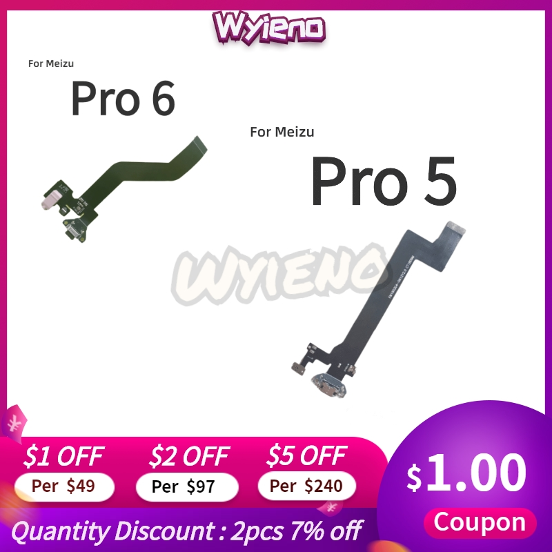 Wyieno For Meizu Pro 5 6 MX6 Charger Port Board USB Charging Connector Flex Cable Microphone Mic Plug Replacement Parts