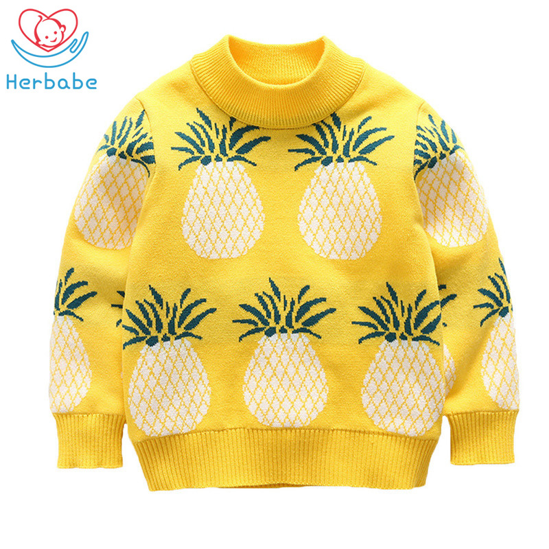 Herbabe Baby Boy Clothes Pineapple Knitted Boys Sweaters Long Sleeve Cotton Toddler Kids Tops 2019 Fall Warm Pullover Sweaters