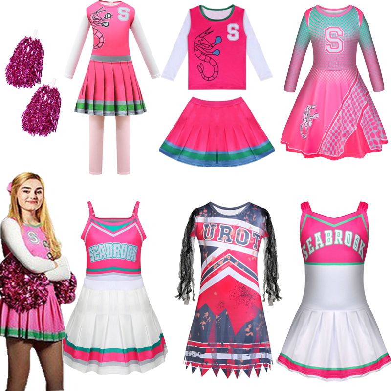Kids Carnival Halloween Cheerleader Costume Cosplay Girls Addison Outfit Fancy Dress Zombie Cheer Camp Costumes Clothes for Girl