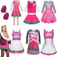 Crianças carnaval halloween cheerleader traje cosplay meninas addison roupa fantasia vestido zombie cheerleader acampamento trajes roupas para a menina