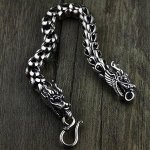 Skala smoka bransoletka łańcuch prawdziwa czysta 925 Sterling Silver podwójne głowice rocznika Punk Rock Retro Style mężczyźni biżuteria