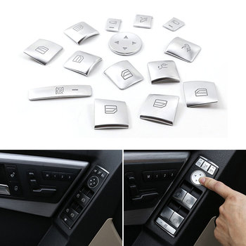 14pcs Car ABS Chrome Window Lift Switch Button Frame Cover Trim For Mercedes Benz A B C E CLA GLK GLA GLE Class W204 W166 W212 new electric power window switch a1698206710 for mercedes benz b klasse w245 a 169 820 67 10 1698206710