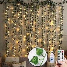Искусственные растения, светодиодный ная гирлянда из плюща, поддельные листья, лоза, декор для комнаты, подвесное украшение для дома, свадьб...