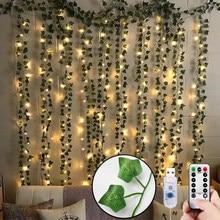 12 Uds plantas artificiales LED Ivy guirnalda Artificial de vides habitación decoración colgante para casa salón de bodas decoración hiedra Garland