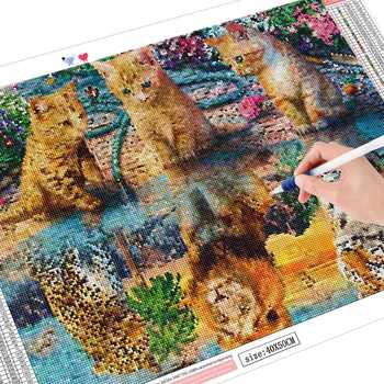 HUACAN Cat Diamond Painting Full Square Animal New Arrival Diamond Embroidery Tiger Home
