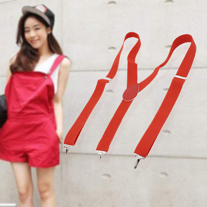 Lady Woman Adjustable Metal Clamp Elastic Suspenders Braces - Red